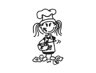 LivingStyles Chef Young Girl Funny Family Car Sticker